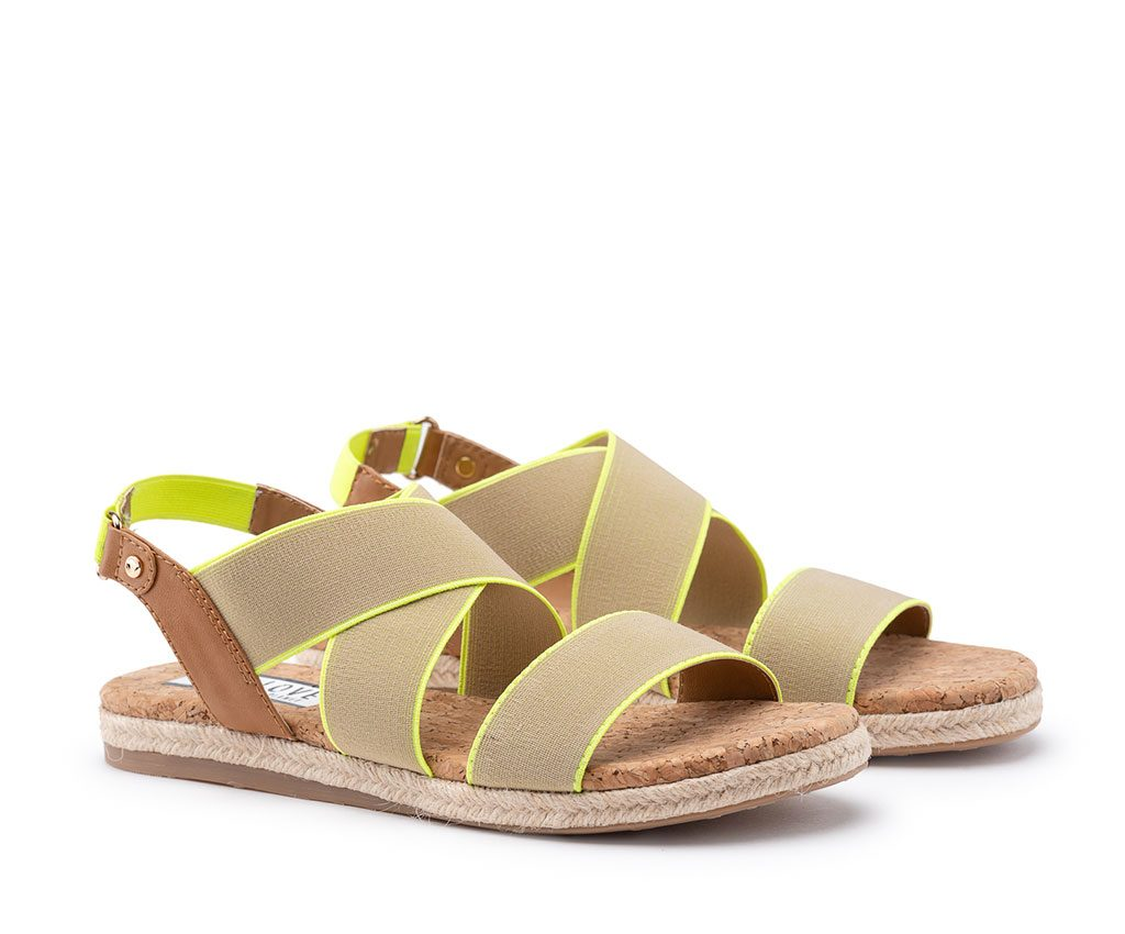 EBE Vegan Sandals | Tan Neon Yellow
