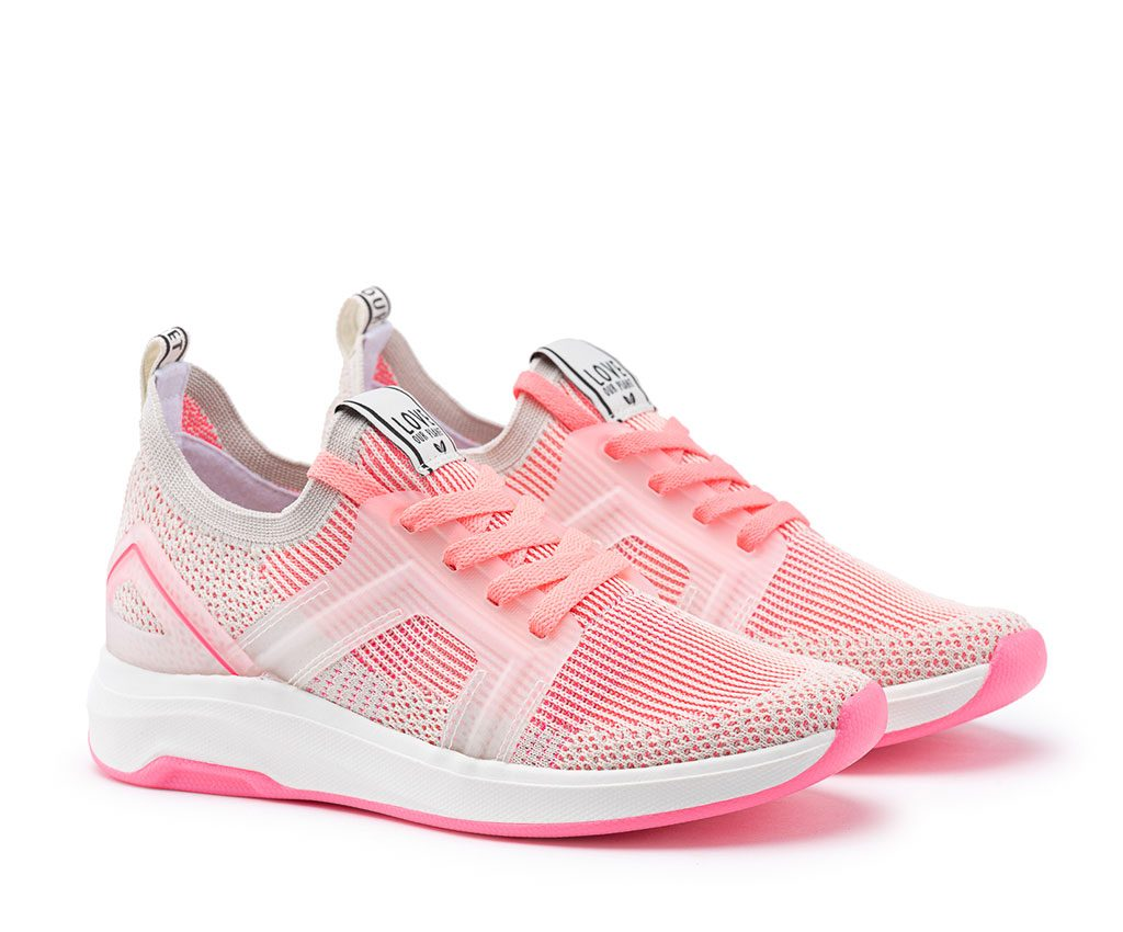 SELENE Vegan Sneakers | White Neon Pink