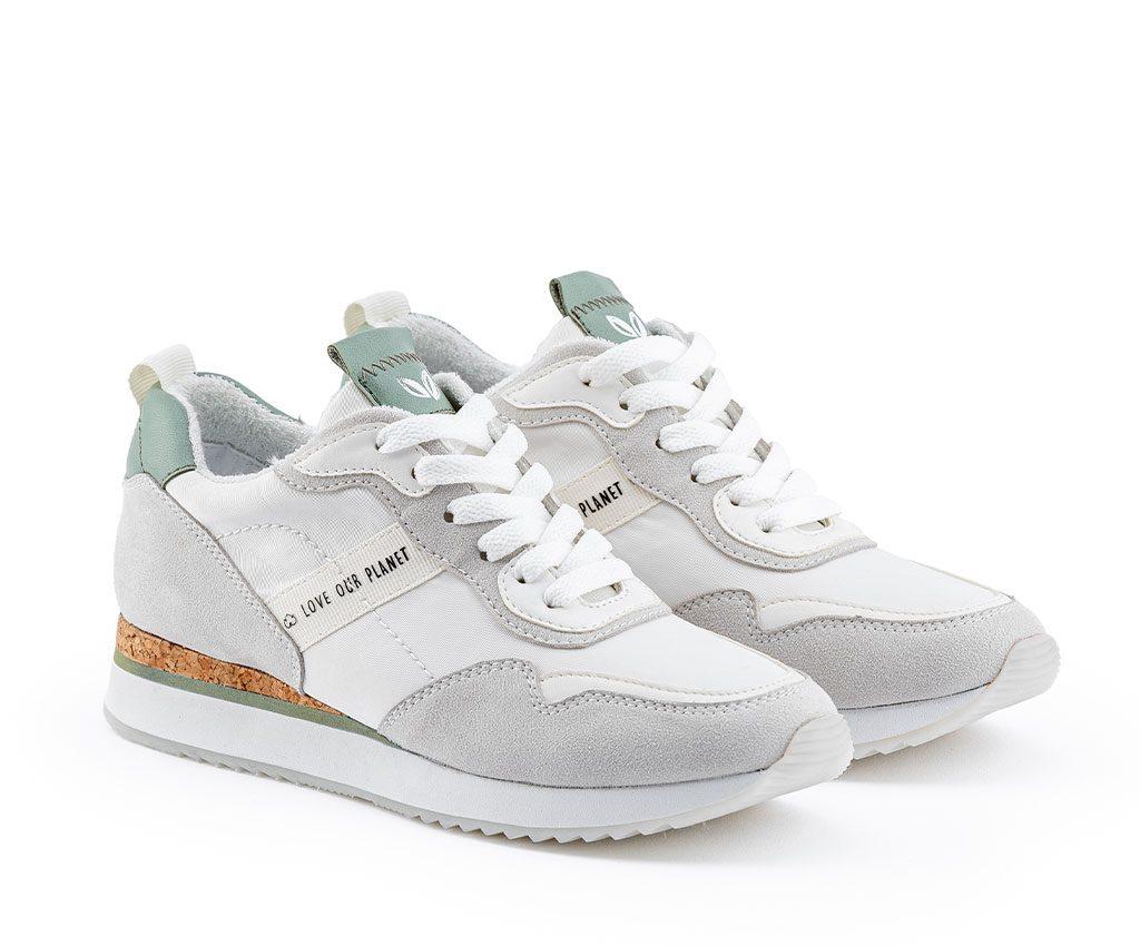 TERESA Vegan Sneakers   Offwhite Pastel Green